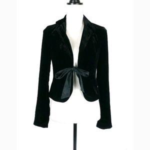 The Limited tie front black velvet blazer jacket